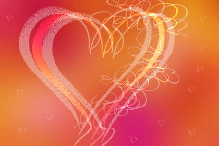 Wedding or valentine day card template. Abstract festive blur bright pink orange pastel background texture with glittering hearts love bokeh for wedding day. Romantic textured backdrop with space.