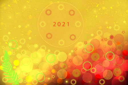 Happy New year 2021 card. Abstract festive elegant gold red glittering greeting card with bokeh circles, glowing christmas stars, a fir branch and teh 2021 text. Beautiful backdrop with space. 免版税图像
