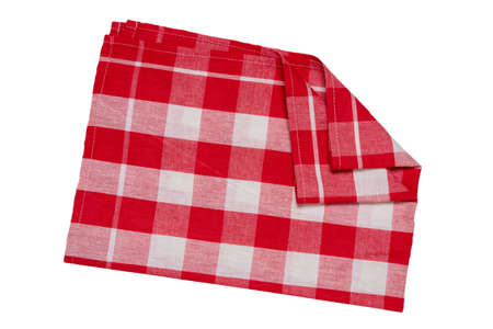 Towels isolated. Close-up of red and white checkered napkin or picnic tablecloth texture isolated on a white background. Kitchen towel.