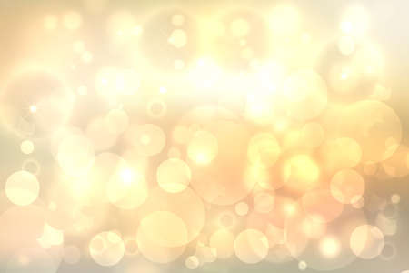 A festive abstract delicate Happy New Year or Christmas background texture with colorful gold yellow pink blurred bokeh lights and stars. Space for design. Card concept or advertising.
