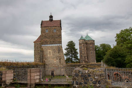 Stolpen castle, Saxony, Germany - August 22, 2020: Countess Cosel was the most famous mistress of Saxony at the court of August the Strong. She was imprisoned for life in the St John's Tower at Stolpen Castle and died there at the age of 84.