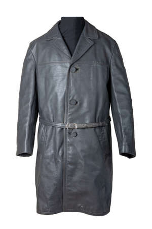 Leather coat isolated. Closeup of a old vintage gray leather coat on mannequin isolated on white. Men's fashion style from the middle of the last century.