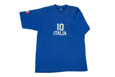 Blue t-shirt for kids. Soccer or polo shirt with the inscription italia and the number ten isolated on white background. Summer fashion kids. Clipping path.