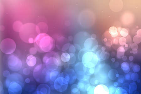 Abstract blue gradient pink purple background texture with glitter defocused sparkle bokeh circles and glowing circular lights. Beautiful backdrop with bokeh light effect.
