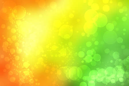 Abstract blurred fresh vivid spring summer light delicate pastel yellow pink orange green bokeh background texture with bright circular soft color lights. Beautiful backdrop illustration. 免版税图像