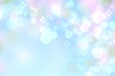 Abstract blurred vivid spring summer light delicate pastel blue pink bokeh background texture with bright soft color cherry blossoms and flowers. Card concept. Beautiful backdrop illustration.