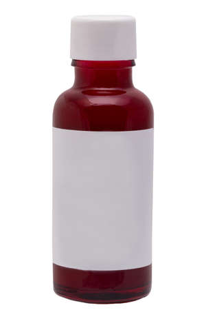 Rose water cosmetics. Closeup of a brown glass bottle with rose water for face or other product. Container with empty label isolated on a white background. Macro. 免版税图像