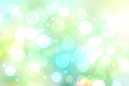 Abstract blurred vivid spring summer light delicate pastel blue light green bokeh background texture with bright soft color circles and bokeh lights. Card concept. Beautiful backdrop illustration.