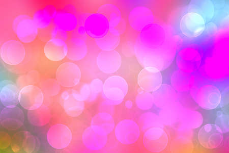 Abstract gradient purple pink yellow blue background texture with blurred bokeh circles and lights. Space for design. Beautiful backdrop illustration.