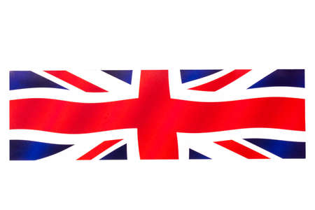 Closeup of abstract national paper flag great britain in shape of rectangle isolated on a white background. United kingdom UK pattern. Clipping path. Macro.