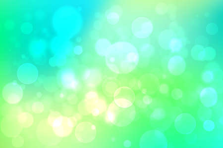 Abstract gradient light blue turquoise yellow green shiny blurred background texture with circular bokeh lights. Beautiful fresh backdrop. Space for design. 免版税图像