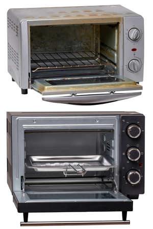 Closeup of a 12 year old small open electric oven being replaced by a new slightly larger electric stove. Isolated on white. Macro. Collage set. 免版税图像