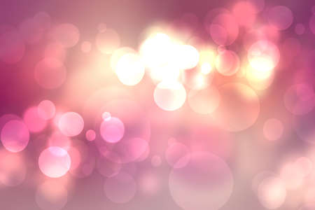 A festive abstract gradient orange pink red background texture with glitter defocused sparkle bokeh circles. Card template for Happy New Year, party invitation, valentine or other holidays.