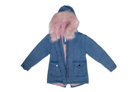 Kids jeans jacket isolated. A stylish fashionable cozy warm denim blue jacket with a light pink lining for the little girl. Children autumn and winter fashion.