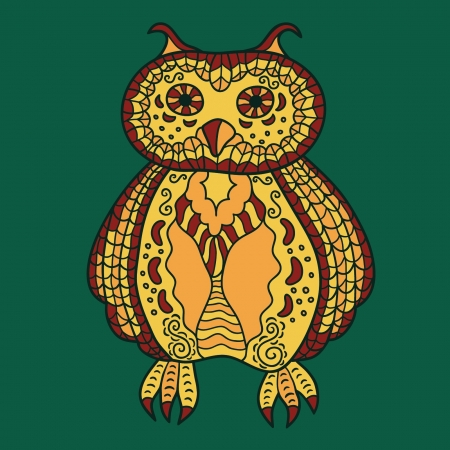 Hand-drawing decorative owl Illustration