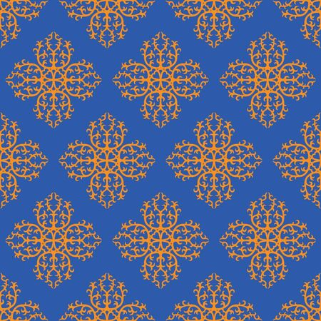 seamless floral damask pattern on blue background  Vintage abstract background for wedding invitation with hearts Vector