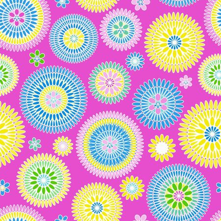 Bright colorful seamless pattern with flowers Vector