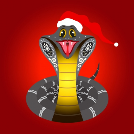 Cute Christmas snake on red background  Symbol of the Chinese New Year  Vector