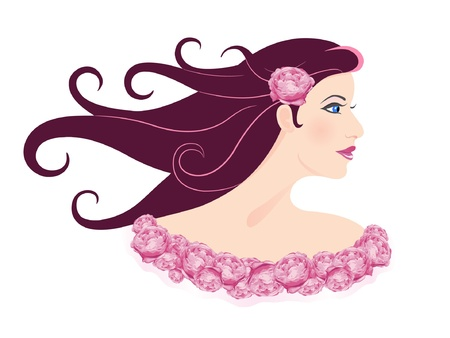 Beautiful woman with roses  Glamour lady   Stock Vector - 17181075