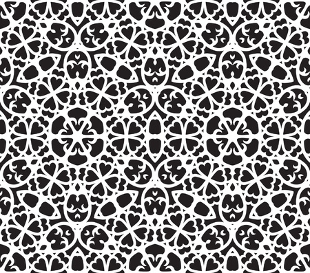Black and white abstract background, seamless pattern with hearts Vector