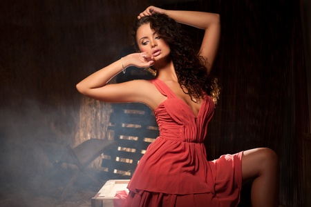 Sexy girl in a barn Stock Photo