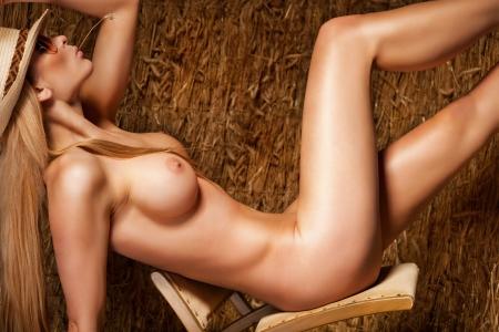 pechos: Mujer hermosa y sexy sobre fondo de heno