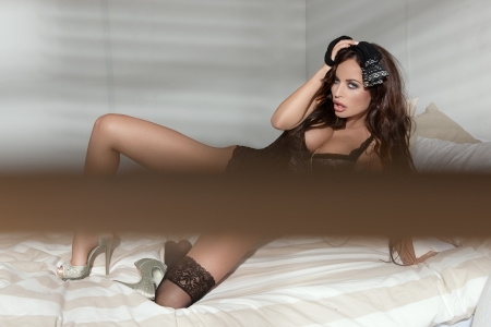 Sexy young women in bed  Stock Photo