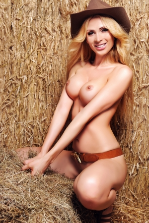 Sexy girl on the hay  photo