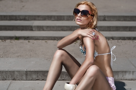 Young beautiful woman  in sunglasses    Stock Photo
