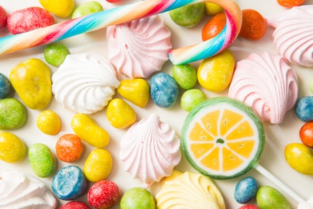flavors: colorful fruity bean candy with different flavors Stock Photo