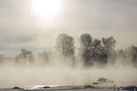 winter park: foggy winter landscape frosty morning over the river and trees in hoarfrost on the shores of