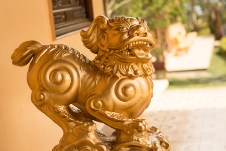 the sculpture of the animal in the Asian Buddhist temple yellow