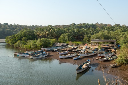 Park, traditional fishing boats on a pier in the river
