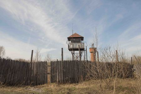 observation tower in an abandoned prison