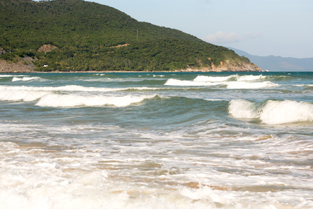 small waves on the sea, turquoise wave, good weather in Vietnam Cam Ranh Stock Photo