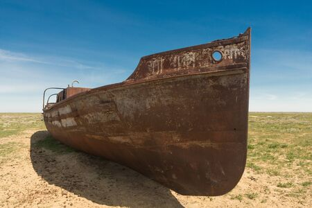 Old boat on dry land