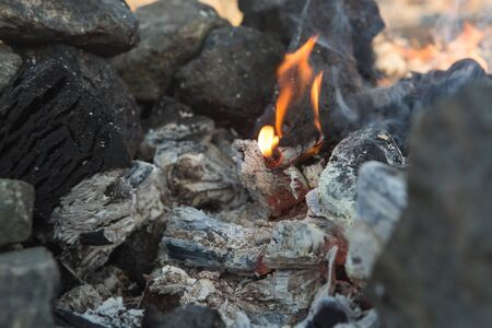 Smouldering coals. Ashes in the barbecue 스톡 콘텐츠