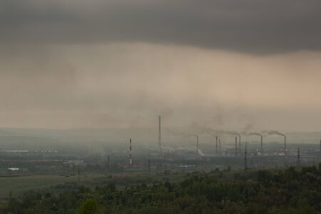 Power plant with smoke and dirty air