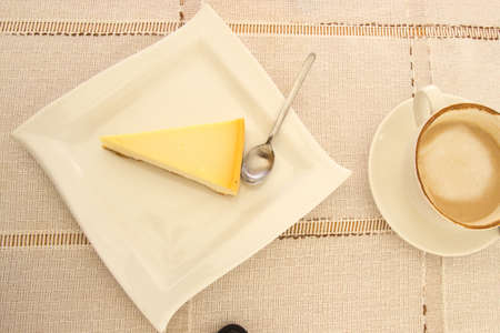 Homemade Baked Cheese Cake and Coffee.