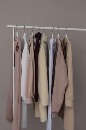 Womens casual clothing on an open hanger