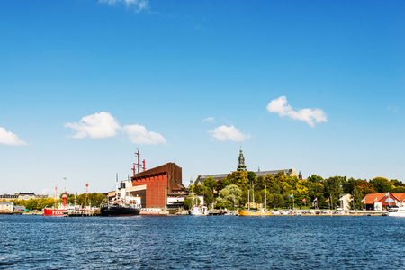 STOCKHOLM, SWEDEN - SEPTEMBER 25, 2017: View at Djurgarden game park and Vasa Museum, displaying recovered Vasa warship built in 17th century Editorial