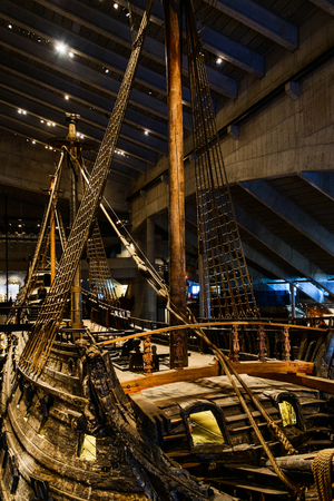 STOCKHOLM, SWEDEN - SEPTEMBER 25, 2017: The Vasa Museum in Stockholm, displaying recovered Vasa warship built in 17th century. Details of ship exterior