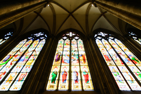 COLOGNE, GERMANY - SEP 23, 2016: Stained glass windows at Catholic Cologne Cathedral, being built since 1248