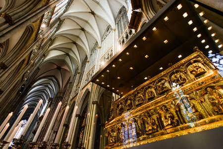 COLOGNE, GERMANY - SEP 23, 2016: Catholic Cologne Cathedral, Shrine (Tomb) of the Three Kings Editorial