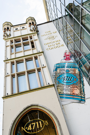 COLOGNE, GERMANY - SEP 23, 2016: 4711 brand store facade, old famous Cologne perfume shop of Eau de Cologne by Mäurer & Wirtz Editorial