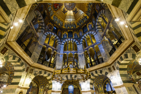 AACHEN, GERMANY -  SEP 26, 2016: Aachen Cathedral, the Cathedral of Aix-la-Chapelle, Roman Catholic church, one of the oldest cathedrals in Europe, consecrated in 805 Redakční