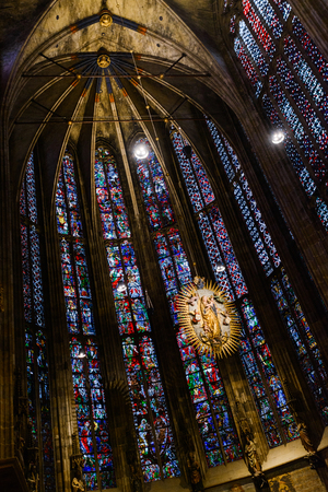 AACHEN, GERMANY -  SEP 26, 2016: Aachen Cathedral, the Cathedral of Aix-la-Chapelle, Roman Catholic church, one of the oldest cathedrals in Europe, consecrated in 805 報道画像
