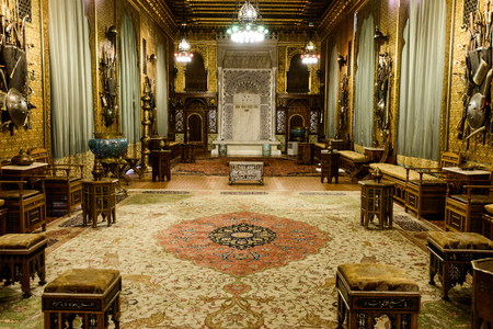 SINAIA, ROMANIA - AUGUST 20, 2014: The interior of beautiful Neo-Renaissance Peles palace castle in Carpathian mountains, built between 1873 and 1914 for King Carol I. The Moorish Salon Editöryel