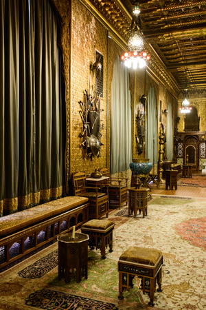 SINAIA, ROMANIA - AUGUST 20, 2014: The interior of beautiful Neo-Renaissance Peles palace castle in Carpathian mountains, built between 1873 and 1914 for King Carol I. The Moorish Salon Editorial