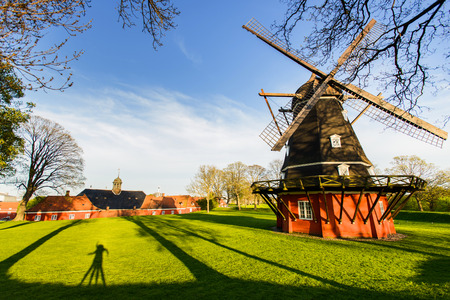 Sunset view of old working windmill at Kastellet fortress in Copenhagen, Denmark